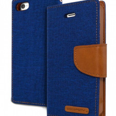 Husa Flip Cover Goospery Canvas Diary Blue Camelpentru iPhone 5 - Husa Telefon Goospery, iPhone 5/5S/SE
