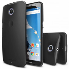 Husa Protectie Spate Ringke Slim Black plus folie protectie pentru Google Nexus 6 - Husa Telefon Ringke, Plastic, Carcasa