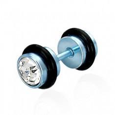 Piercing fals albastru, cu zircon - Piercing buza