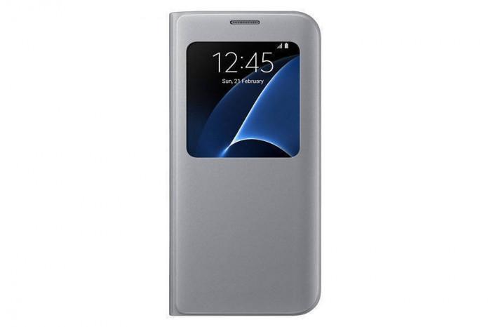 Husa S-View Samsung pentru Galaxy S7 G930 Argintiu foto mare