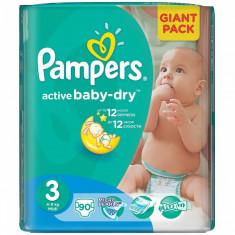 Scutece PAMPERS Active Baby 3 Giant Pack 90 buc - Scutece unica folosinta copii