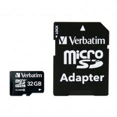Card Verbatim microSDHC 32GB Clasa 10 cu adaptor - Card memorie