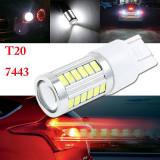 Led bec T20 7443 33 smd 5630 de culoare alb cu lupa dublu contact - Led auto, Universal
