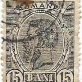 Spic de grau, 15 bani, negru, 1898-1900, obliterat (2), Regi, Stampilat