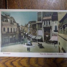 Piata Sfantul Gheorghe si Str. Lipscani, CP ilustrata - Harta Europei