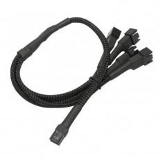 Nanoxia Cablu adaptor pentru ventilatoare 1x 3 pini la 4x 3 pini 30 cm Black - Cablu PC