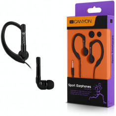 Casti Canyon CNS-SEP1B Sport Black, Casti In Ear, Cu fir, Mufa 3, 5mm
