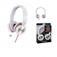 Casti Panasonic RP-HXS400E-W white, Casti On Ear, Cu fir, Mufa 3, 5mm, Active Noise Cancelling