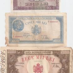 ROMANIA 10000 LEI 1945 U, 5000 LEI 1944 U, 10 LEI 1966 F- pret per lot - Bancnota romaneasca
