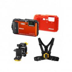 Aparat foto compact Nikon Coolpix AW130 16 Mpx zoom optic 5x WiFi subacvatic Outdoor Kit Portocaliu