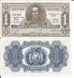 !!!  BOLIVIA  -  1  BOLIVIANO L 1928  - P 128 c1 - UNC / SUPRATIPAR EMISION 1952