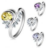 Inel argintiu, zirconiu oval colorat, linii curbe, zirconii transparente - Inel aur, Culoare: Galben