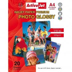 Hartie foto ActiveJet 20 coli A4 Premium Glossy 200g - Hartie foto imprimanta