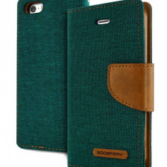 Husa Flip Cover Goospery Canvas Diary Green Camelpentru iPhone 5 - Husa Telefon Goospery, iPhone 5/5S/SE