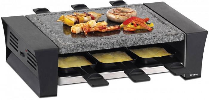 Racleta si grill simplu combinat Trisa Raclettino 6 1200W 6 tavi Neagra foto mare