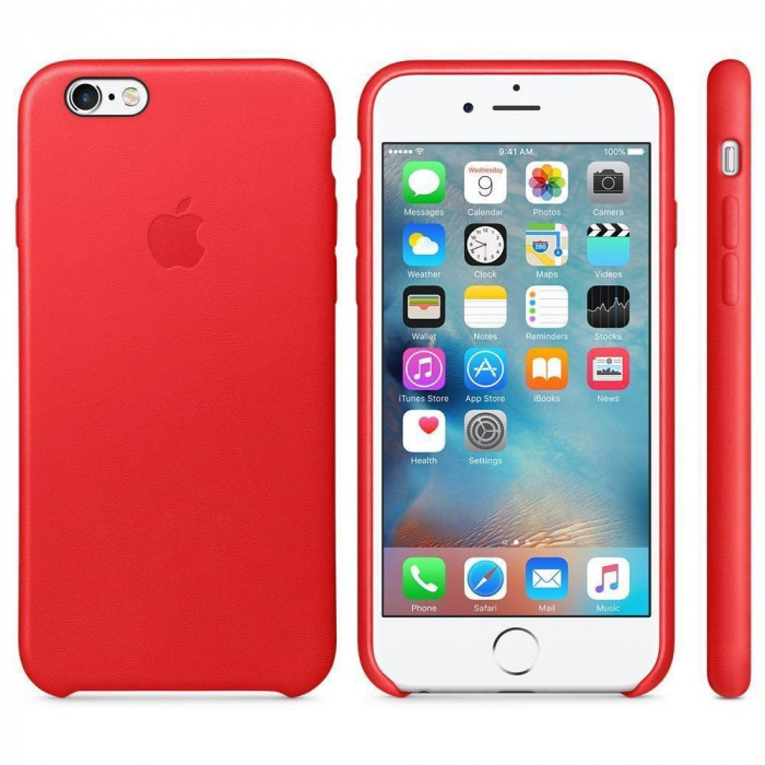 Husa Protectie Spate Apple Leather Case Red pentru iPhone 6s plus foto mare