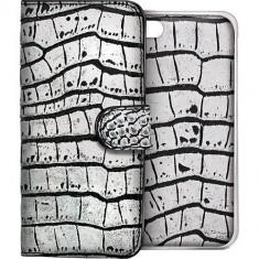 Husa Protectie Spate Celly CROCOAIPH6SV Agenda CROCODILE AMBO si Capac Spate Argintiu pentru APPLE iPhone 6, iPhone 6S - Husa Telefon Celly, iPhone 6/6S, Piele Ecologica, Cu clapeta
