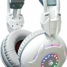 Casti A4Tech cu microfon Bloody G300 alb, Casti Over Ear, Cu fir, Mufa 3, 5mm