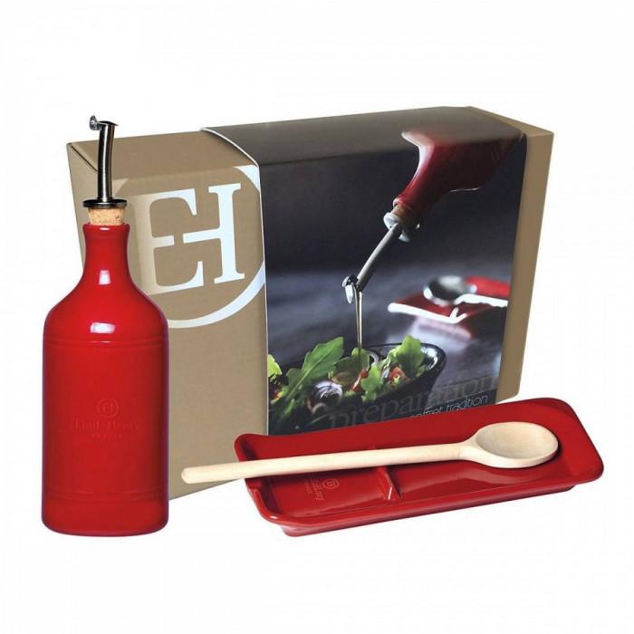 Dozator ulei Emile Henry 0.45 l plus Suport lingura 22.5 cm Red Lacquered foto mare
