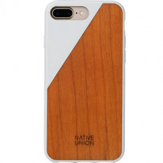 Husa Protectie Spate Native Union CLIC-WHT-WD-7P Walnut Wood Alb pentru Apple iPhone 7 Plus