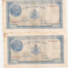 ROMANIA 5000 LEI MAI 1944 SERIE CONSECUTIVA VF - PRET PER LOT - Bancnota romaneasca