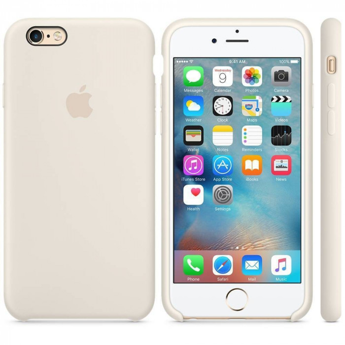 Husa Protectie Spate Apple Silicone Case Alb Antique pentru tiPhone 6s plus foto mare