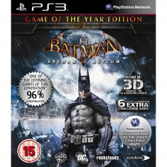 Joc consola Eidos Batman Arkham Asylum Game of the Year PS3 - Jocuri PS3 Eidos, Actiune, 16+
