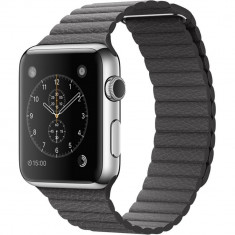 Smartwatch Apple 42mm Stainless Steel Case Storm Grey Leather Loop - Medium, Otel inoxidabil, Gri, Apple Watch