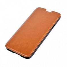 Husa Flip Cover Tellur TLL111672 Folio maro pentru Samsung Galaxy S4, Piele Ecologica, Cu clapeta