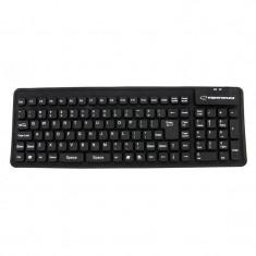 Tastatura Esperanza Silicon USB EK126K Black, Cu fir