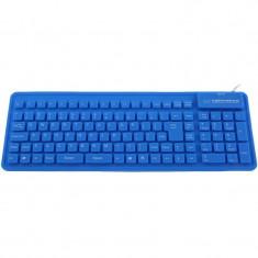 Tastatura Esperanza Silicon USB EK126B Blue, Cu fir