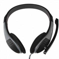 Casti Mediatech Lectus MT3562 Grey, Casti On Ear, Cu fir, Mufa 3, 5mm