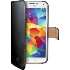 Husa Flip Cover Celly WALLY422 Agenda Wally Negru pentru Samsung Galaxy S5 Mini - Husa Telefon