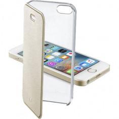 Husa Flip Cover Cellularline CLEARBOOKIPH5H Agenda Clear Auriu pentru Apple iPhone SE - Husa Telefon
