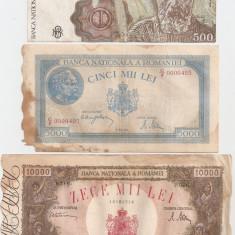 ROMANIA 10000 LEI 1945 U, 5000 LEI 1944 U, 500 LEI 1991 F- pret per lot - Bancnota romaneasca