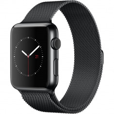 Smartwatch Apple Watch 42mm Space Black Stainless Steel Case Space Black Milanese Loop, Otel inoxidabil, Negru