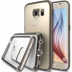 Husa Protectie Spate Ringke Fusion Smoke Black plus folie protectie fata si spate pentru Samsung Galaxy S6 - Husa Telefon