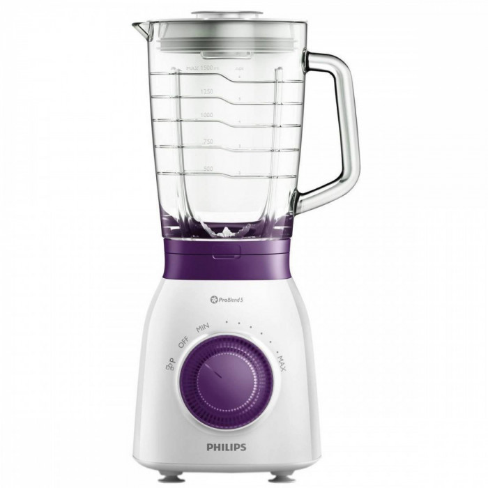 Blender Philips HR2173/00 Viva Collection 600W 1.5l alb / violet foto mare