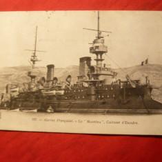 Ilustrata- Marina Militara Franceza - Cuirasatul Massena, circulat 1903, Circulata, Printata