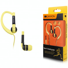 Casti Canyon CNS-SEP1Y Sport Yellow, Casti In Ear, Cu fir, Mufa 3, 5mm