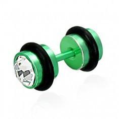 Piercing fals verde, cu zircon - Piercing buza