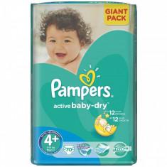 Scutece PAMPERS Active Baby 4+ Giant Pack 70 buc - Scutece unica folosinta copii