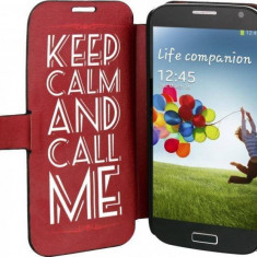 Husa Flip Cover TnB SGAL42CALM Folio Case Keep Calm pentru Samsung Galaxy S4
