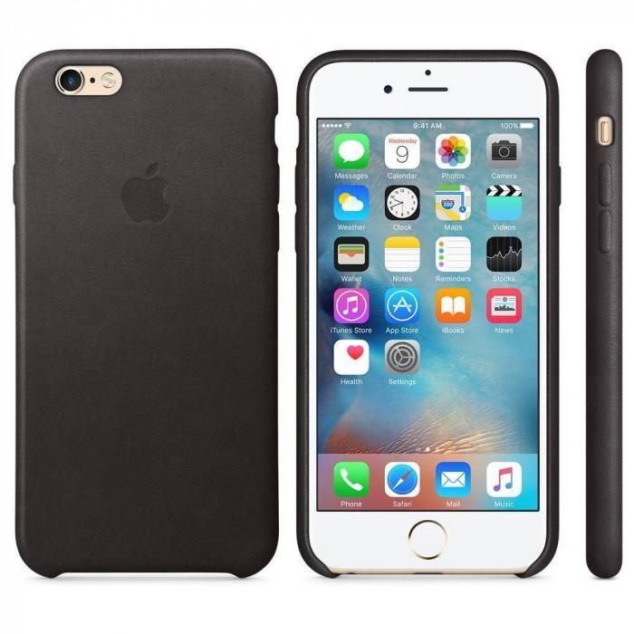 Husa Protectie Spate Apple Leather Case Neagra pentru tiPhone 6s foto mare