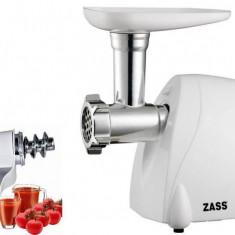 Pachet masina de tocat + accesoriu storcator rosii Zass ZMG 05 cu ZJAMG 04 1000W Alb