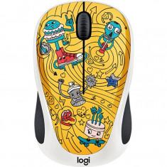 Mouse wireless Logitech M238 Doodle Collection, Fara Fir, Optic, 1000 DPI, Go Go Gold, Optica, 1000-2000