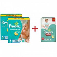 Pachet PAMPERS 2 x Scutece Active Baby 3 Mega Box Plus 174 buc + Scutece Active Baby Pants 4 Jumbo Pack 52 buc GRATUIT - Scutece unica folosinta copii