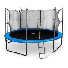 Klarfit Rocketstart 430, 430 cm trambulină, plasă internă de securitate, scară largă, albastră - Trambulina copii