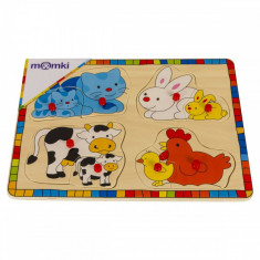 Puzzle din lemn MomKi Animale domestice 8 piese