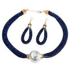Set - colier, cercei, plasă și cristale strălucitoare albastru închis, mărgea
